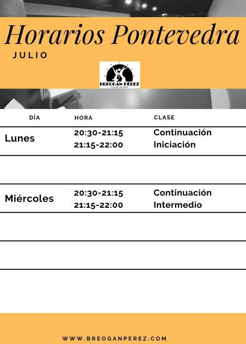 Horarios Pontevedra Julio